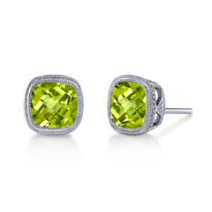 Peridot Bezel Earrings